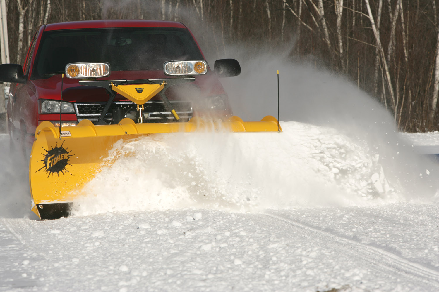 Fisher Engineering snow plow foil in action Camden Maine